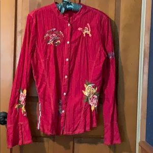 Johnny Was cotton embroidered shirt L